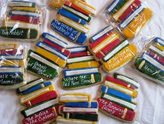 Stacked book cookies    www.kimandashlee.com  Stacked cookie books for the kick off party for the Mayor's Mega-Minute Reading Challenge Party for the Regina Public Library.