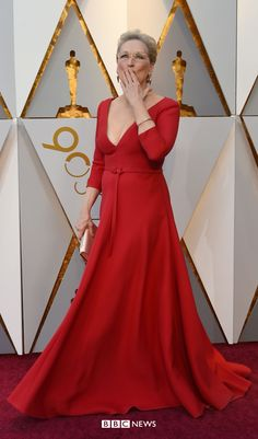 Oscars Meryl Streep – who missed out on a Best Actress Oscar for her role as a newspaper owner in The Post - wears Christian Dior Haute Couture Newspaper Dress, Best Actress Oscar, Emma Thompson, Meryl Streep, Best Actor, Oscars, Dress Red, Actors & Actresses, Christian Dior