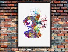 Stitch, Lilo & Stitch disney - watercolor, Art Print, Giclee, Watercolor Print, poster, Home Decor, kids art by IvanHristov on Etsy https://www.etsy.com/listing/218809405/stitch-lilo-stitch-disney-watercolor-art