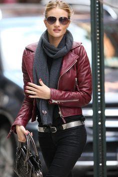 Rosie Huntington Whiteley Burgandy Leather Jacket Aviators