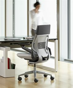 """Gesture chair by Steelcase – """"The first chair designed to support our interactions with today's technologies. [Tablets, mobile devices, etc.] Inspired by the movement of the human body. Created for the way we work today."""""""