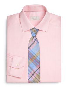 Madras Linen Tie + Pink Shirt