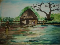Africa village in water colour