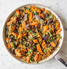 Warm Cumin Roasted Carrot, Red Onion and Lentil Salad   Deliciously Ella