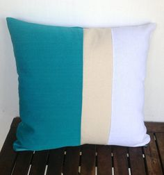 Blue pillowthrow pillows color block turquoise by Snazzyliving, $31.00