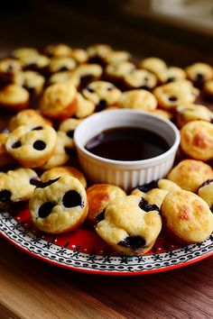 Pancake Mini-Muffins! Instead of cooking pancakes on a griddle, bake 'em and dunk 'em!