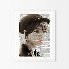 Françoise  Hardy -Mixed media collage, woman, singer,  vintage , retro, decor, print , poster, wall , interior design, elegant -
