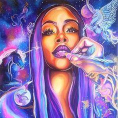 """""""Amethyst Beauty"""" by Destiney Powell Arte Dope, Dope Art, Black Love Art, Black Girl Art, African American Art, African Art, Art Africain, Black Artwork, Afro Art"""