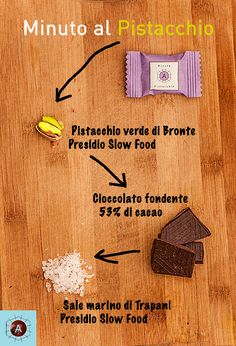 """Everybody is going crazy for the new salty-crunchy-chocolate bite """"Minuto al Pistacchio"""". Maybe because of the ingredients? Southern Italy, Slow Food, Going Crazy, New Recipes, Traditional, Chocolate, Chocolates, Brown"""
