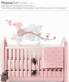 Children's Wall Art Decal - Vinyl Sticker custimized - Bird on Branch with Flowers - Nursery Decal Removable Girls Room Decal Pink & Grey