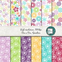 Digital Paper - Bright Floral, Digital scrapbook paper, flower scrapbook paper, seamless digital paper, bright flower paper, colorful flower by LittlePrintsOttawa on Etsy Scrapbook Paper Flowers, Digital Scrapbook Paper, Flower Paper, Bright Flowers, Birthday Party Invitations, Paper Goods, Color Patterns, Gift Tags, My Etsy Shop