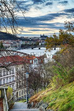 #Prague Castle and Palackého Most viewed coming down the hill to Vltava from #Vyšehrad | www.svasek.eu