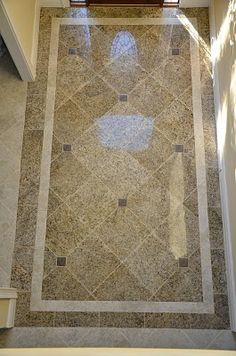 Change Travertine & Granite to Travertine and Shell tile as border and glass tile as accent