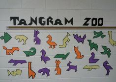"""Tangram Zoo""  Have your student design animal shapes using tangram pieces and make a ""Tangram Zoo"" math bulletin board display of their finished projects."
