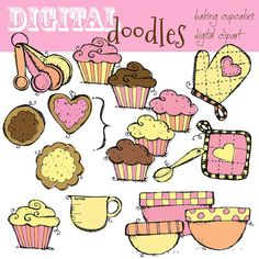 INSTANT DOWNLOAD Baking Cupcakes digital clipart