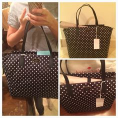 BABY DIAPER Bag Kate Spade Black Polka NWT! Baby Diaper Bag from Kate Spade. Authentic and gorgeous. Material is nylon, leather trims. Long strap for multiple uses. Included one diaper changing pad which is easy to clean. Lots of place for your baby belongings. New with tags attached. Perfect new condition.No trades kate spade Bags Totes