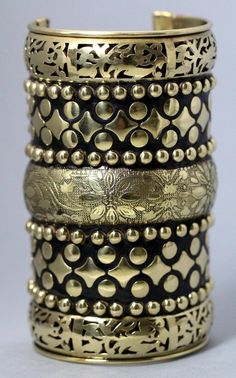 "Floral Etched 5"" Cuff Tribal Bracelet Bangle Ethnic Ornate Kuchi Arm Jewelry Antique Gold Black"