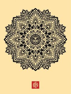 Wave Mandala, by Shepard Fairey, illustration. Tattoo Henna, Mandala Tattoo, Tattoo Ink, Tattoo Balance, Henna Designs, Tattoo Designs, Shepard Fairey Obey, Silkscreen, Street Art