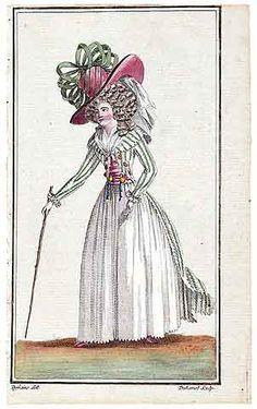Magasin des Modes Nouvelles 1787 cahier n°31, plate n°1, Defraine, 18th Century Dress