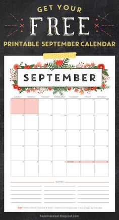 Happiness is... September 2015 Free Printable Calendar and Planner