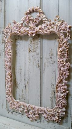 Large vintage pink frame ornate white accented by AnitaSperoDesign, $220.00
