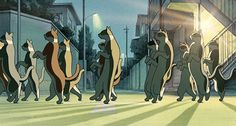 Studio Ghibli The Cat Returns. Can't you just hear that laid back song when they walk away at this part???