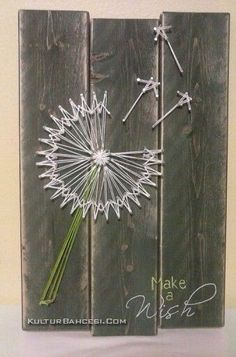 String art- How clever ! Love the barn board backing! - kim hagedorn String art- How clever ! Love the barn board backing! String art- How clever ! Love the barn board Cute Crafts, Crafts To Do, Wood Crafts, Arts And Crafts, Diy Crafts, Art Diy, Diy Wall Art, Arte Linear, String Art Patterns