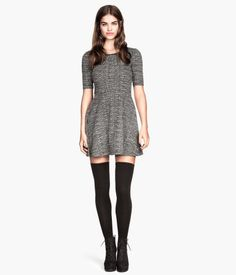 Grey and Black Textured-knit Dress from H&M