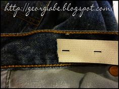 DIY adjustable waist. To make a waist smaller I've used regular elastic, skipped the button and after inserting the elastic in the waistband, just stitched it in place.  Easy and helpful!