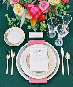 La Tavola Fine Linen Rental: Velvet Emerald with Dupionique Iridescence Lipstick Napkins | Photography: Melissa Jill Photography, Concept & Planning: Ashley Gain Weddings, Venue: El Chorro, Floral Design: The Flower Studio