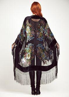 Velvet Fringe Kimono Jacket - Wild Flower Jacket by shevamps on Etsy https://www.etsy.com/listing/191197624/velvet-fringe-kimono-jacket-wild-flower