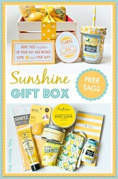 """Melly Moments: A Cheer Up """"Sunshine"""" Basket . Melly Moments: A Cheer Up """"Sunshine"""" Basket Theme Baskets, Themed Gift Baskets, Raffle Baskets, Cheer Up Basket, Basket Gift, Basket Of Sunshine, Sunshine Box, Teacher Appreciation Gifts, Teacher Gifts"""