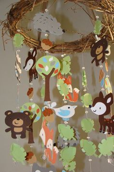 Woodland Critter Forest Animal Baby Mobile by magicalwhimsy