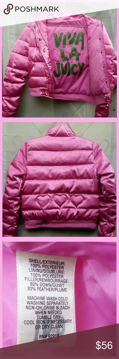 BubbleGum Pink Posh Puff-Coat Viva la Juicy! In green Lettering of Coats Interior. Embroided  Hearts on back! <3 (Soooo Cute!)  Smooth Sheen & Shiny Material. And all Style/ Cuteness / Trend Setting Potential / the whole 70's Roller Girl Thing / Space Age / Show Stopping / Stand Out-ish / One of a Kind ... Yeah. All that aside this Coat is by far unbelievably the WARMEST Comfiest Coat: EVER. Size: Small w/Medium sizer's welcome 2. Jackets & Coats Puffers