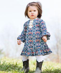 kate quinn organics Blue & Red Floral Organic Swing Dress
