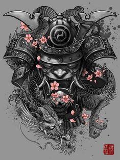 """Dragon Samurai"" Art Print by Elvin Tattoo on Artsider. Get the poster for… Kunst Tattoos, Irezumi Tattoos, Body Art Tattoos, New Tattoos, Tattoos For Guys, Tatoos, Face Tattoos, Small Tattoos, Samurai Maske Tattoo"