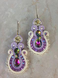 """Orecchini soutache modello """"Vintage Viola""""  con Swarovski, czech crystal e bead"""