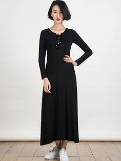 Shop Black Lace Up Front Long Sleeve Plain Maxi Dress from choies.com .Free shipping Worldwide.$19.9