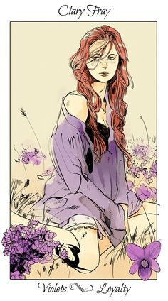 Clary with violets, The language of flowers (picked by C.Clare, art by C.Jean)