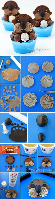 Get the recipe ♥ Sea Otter Cupcakes #recipes @recipes_to_go