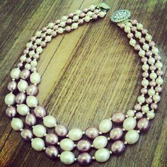 Peach & Pink Vintage 1980s 1960s Style 3 Strand by LuluBrandy, £15.00