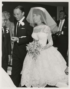 Frank Sinatra and daughter Nancy on her 1960 wedding day at the Sands Hotel in Las Vegas, Nevada.
