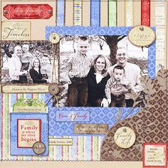 Design by Patricia Anderson Patricia tucked journaling about her family in a pocket in the bottom left-hand corner of her scrapbook page. Editor's Tip: Make hidden journaling a seamless part of your design by decorating the pocket. Coordinating accents used throughout the scrapbook page unify the photos, journaling, and embellishments.  SOURCES: Patterned paper, die cuts: Deja Views for The C-Thru Ruler Company. Font: Times New Roman. Brads: Making Memories. Ribbon: Bobbin Ribbon.