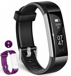 wesoo Fitness Tracker, Fitness Watch : Activity Tracker Smart Band with Sleep Monitor, Smart Bracelet Pedometer Wristband with Replacement Band for iOS & Android (Black+Blue Band) Best Fitness Band, Best Fitness Watch, Fitness Armband, Fitness Bracelet, Smartphone, Apple Watch, Shooting Couple, Tech Gifts For Men, Android