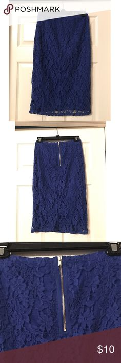 """Bright blue Target lace pencil skirt From Target's Xhilaration brand, this pencil skirt has a bright blue underskirt and floral lace overskirt! Its cute gold zipper adds interest to the back. No slits. Perfect for spring! Hits below the knee. Size M and very stretchy! Measures 25"""". Make me an offer! 😊 Xhilaration Skirts Pencil"""