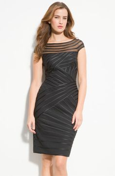 Tadashi Shoji Illusion Bodice Piped Satin Sheath Dress - I really like the texture of this one.