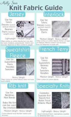 Great information! Guide to Knit Fabrics - Understanding different types of knits for sewing with knits - Melly Sews