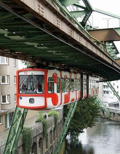 Wuppertal Schwebebahn or Wuppertal Floating Tram is a suspension railway in Wuppertal, Germany. It is the oldest electric elevated railway with hanging cars in the world and an almost unique system.     http://en.wikipedia.org/wiki/Wuppertal_Schwebebahn