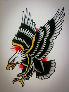 Pouncing Eagle Old School Tattoo Design