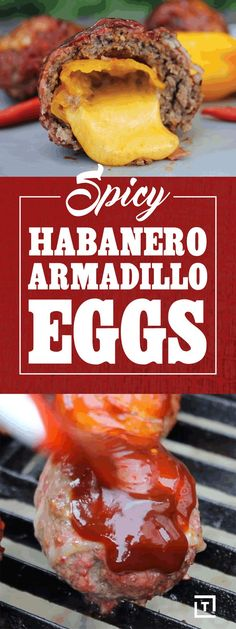 """We are stuffing cheddar cheese into habanero peppers, covering them with beef, wrapping them in bacon, and sprinkling on some BBQ rub to make these spicy habanero armadillo eggs. Finish 'em off with a quick BBQ sauce glaze and grill them for a spicy, cheese-oozing """"egg""""."""